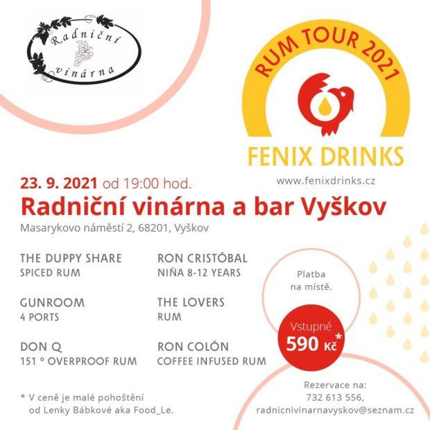Fenix Drinks Rum Tour: 23. září, Radniční bar a vinárna, Vyškov