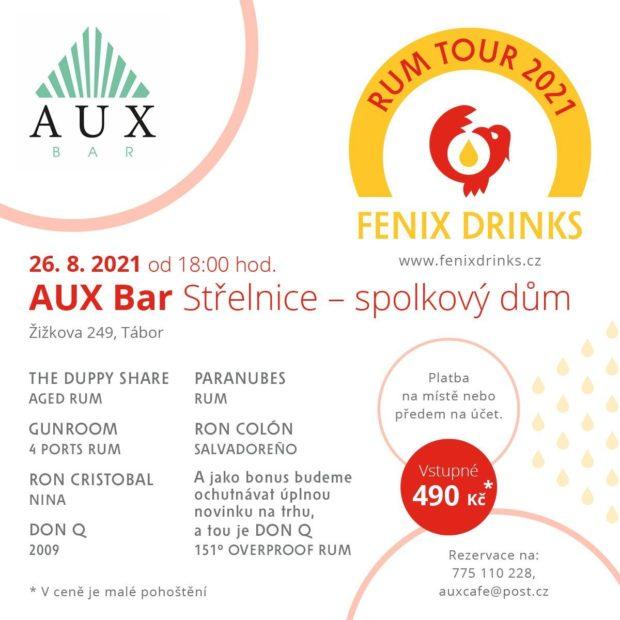 Fenix Drinks Rum Tour: 26. srpna, AUX Bar, Tábor