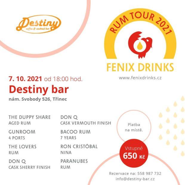 Fenix Drinks Rum Tour: 7. října, Destiny bar, Třinec
