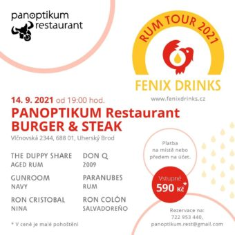 Fenix Drinks Rum Tour: 14. září, Panoptikum Restaurant, Uherský Brod